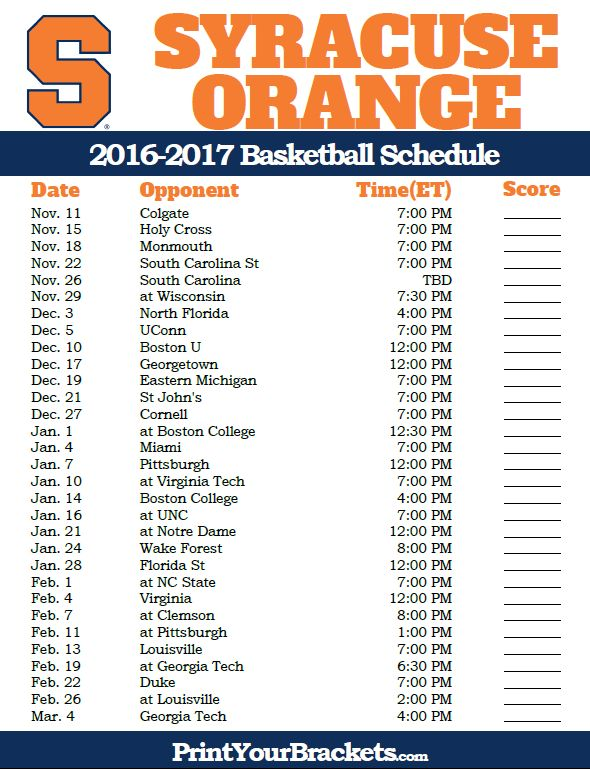 Syracuse Orange 2016-2017 College Basketball Schedule