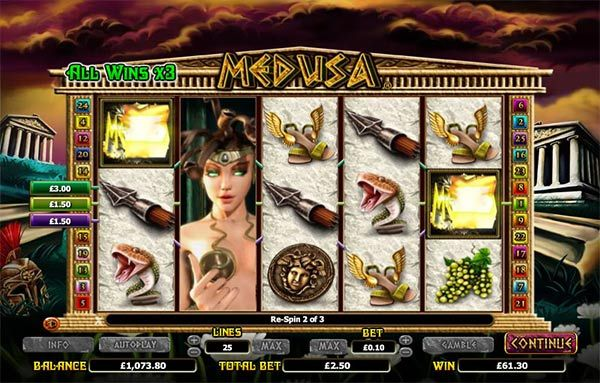 Medusa #slotmachine will bring you mystery, powerful symbols, Turned to Stone Re-spin, Once Bitten bonus feature, Pegasus #Bonus feature and huge prizes to be won and it's all on Mrmega.com. The #game gives you 25 available pay lines to play with and 5 reels in a incredible detailed game where Amaya hasn't spared on the graphic design.