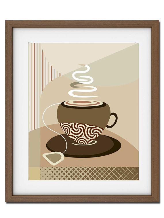 Tea Art Print, Tea Poster, Kitchen Decor, Tea Wall Art, Hot Tea Poster, Retro Tea Poster, Tea Bag Art, Tea Cup Art, Beige, Tan, Brown