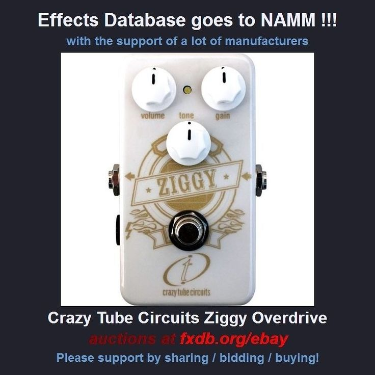 25 companies offered pedals to help me fund my trip to the NAMM show. They will be listed at fxdb.org/ebay    This Ziggy Overdrive by @crazytubecircuits is online now!    #effectsdatabase #fxdb #geartalk #gearphoria #effectspedals #guitareffects #guitarpedals #namm #nammshow #namm2018 #bp    Sharing is very much appreciated!!!