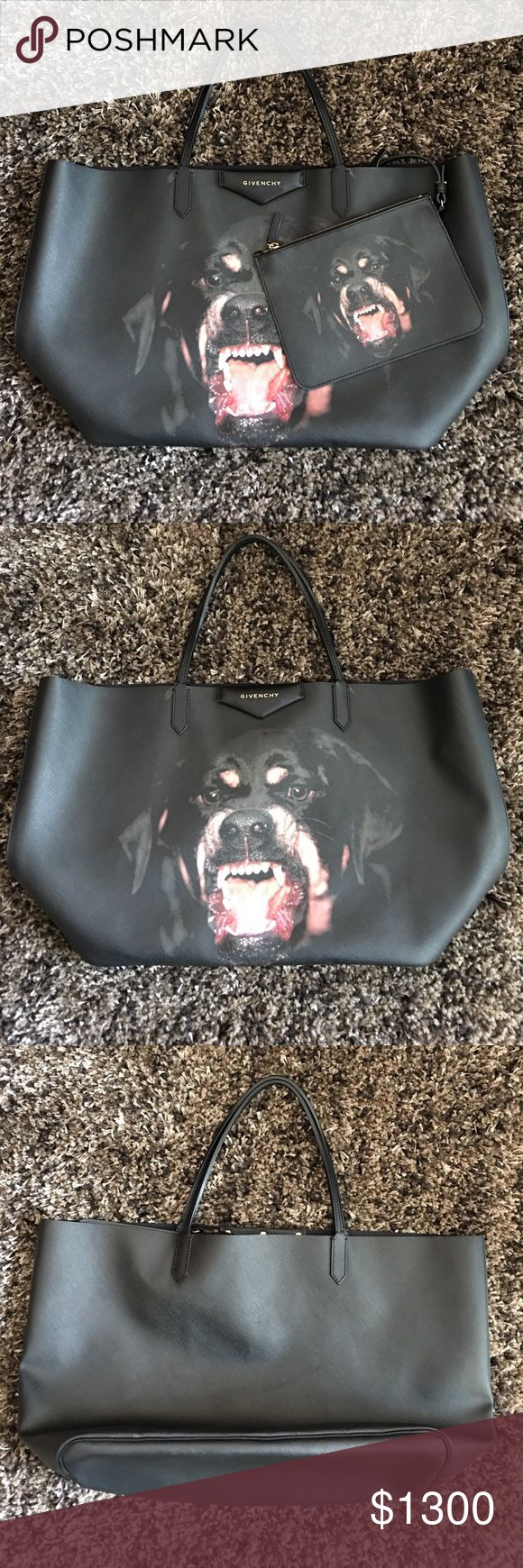 Givenchy Rottweiler Tote **Authentic** Givenchy Rottweiler Tote size Large ! Original retail for $2000. Only worn handful of times, in beautiful condition. Very firm in my price due to these bags being very rare and hard to come across. Comes with Rottweiler pouch as well. Givenchy Bags Totes