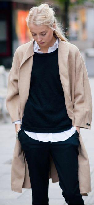 le manteau camel, le pull + Chemise blanche, entre grunge chic et preppy: