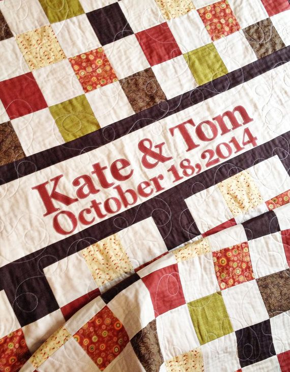 Wedding Quilt Patchwork Monogram Name Custom Made Perfect Or Houswarming Gift Guestbook Anniversary