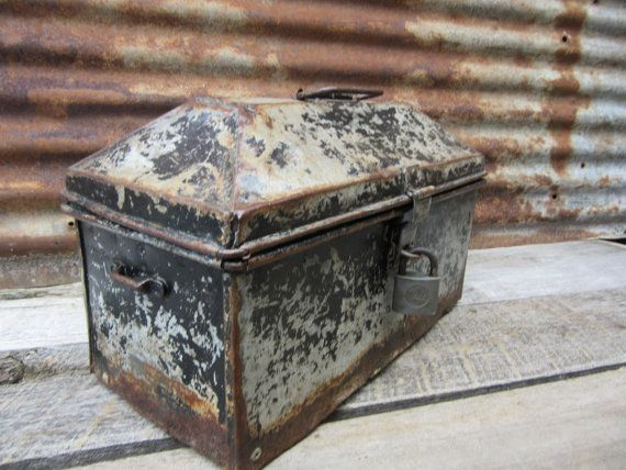 Antique Victorian Metal Tool Box w/YALE Lock by TheOldTimeJunkShop