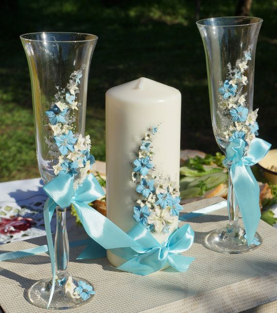 Wedding glasses and candle blue sky by DecorEvgenia on Etsy