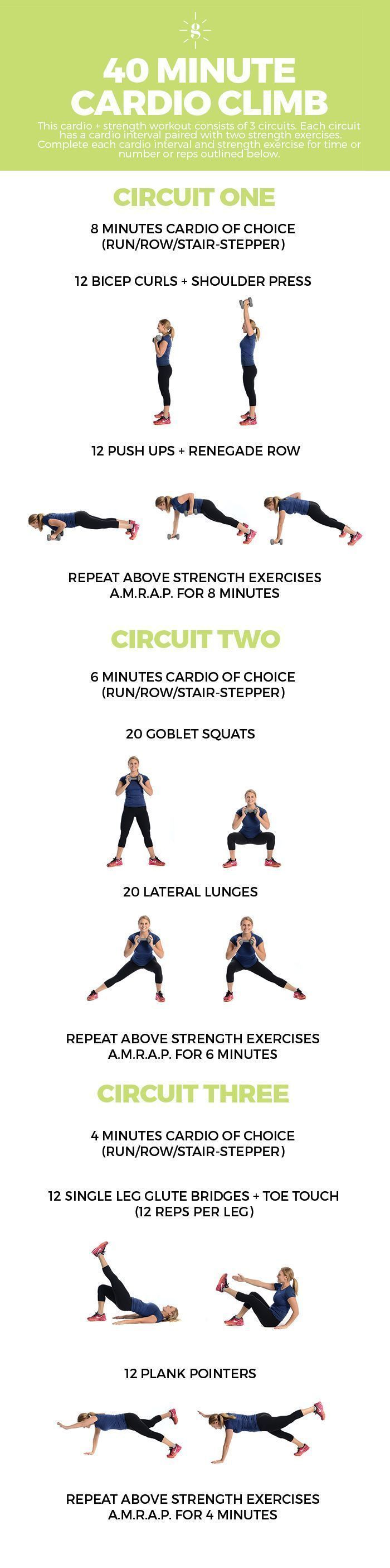 Do this 40 minute cardio climb workout and mix steady state cardio with strength training AMRAP circuits!