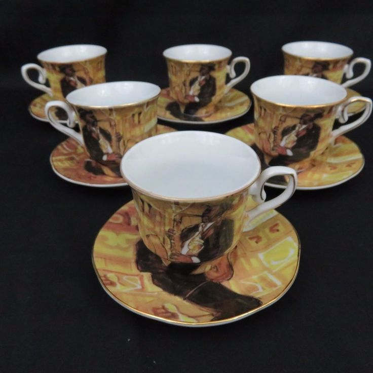 Heritage by Jay Jazz Saxophone Porcelain Demitasse Cups and Saucers Set of 6 Box