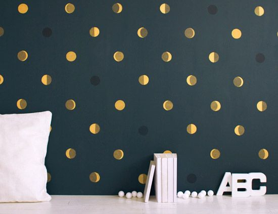 Bartsch: French Decorative Painting for Kids RoomsPowder Room, Gold Polka Dots, Wall Murals, Kids Room, Wall Painting, Painting Wall, Gold Dots, The Moon, Accent Wall