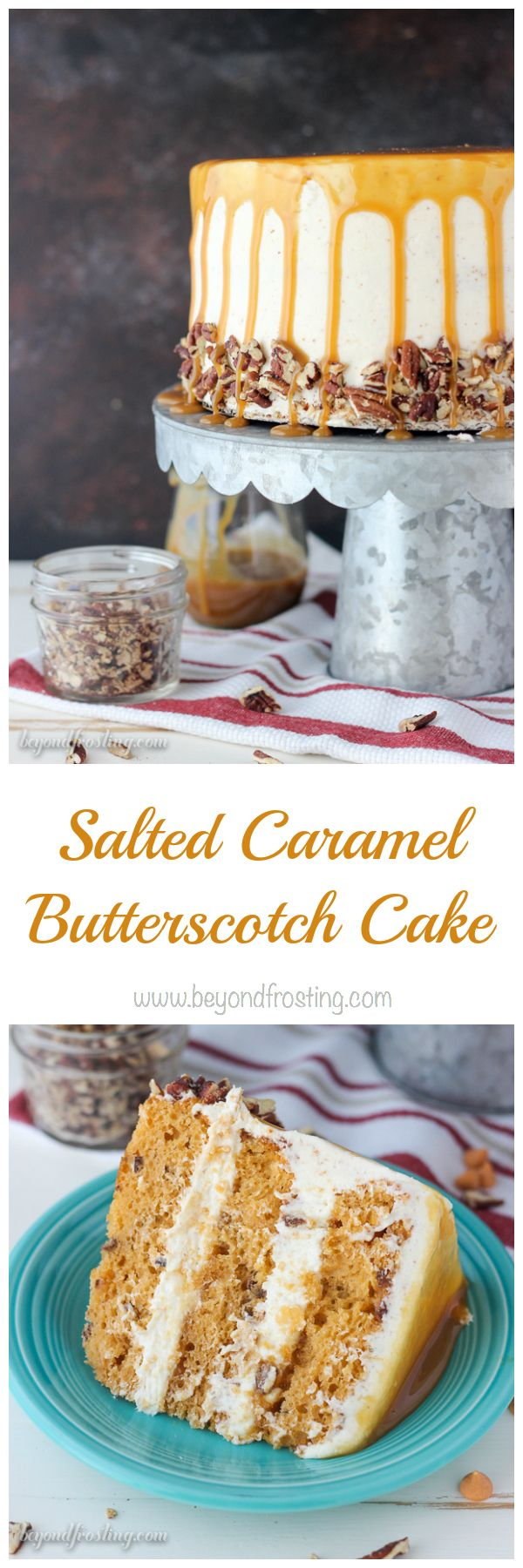 This Salted Caramel Butterscotch cake is one of the best cakes I've ever eaten! The dreamy brown butter frosting is the perfect addition to the rich butterscotc