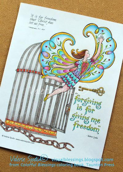 LOVE, LOVE, LOVE this illustration from Valerie Sjodin!! I am SUPER EXCITED about her new coloring book!!! visual blessings: The Freedom of Forgiving plus Coloring Book News!
