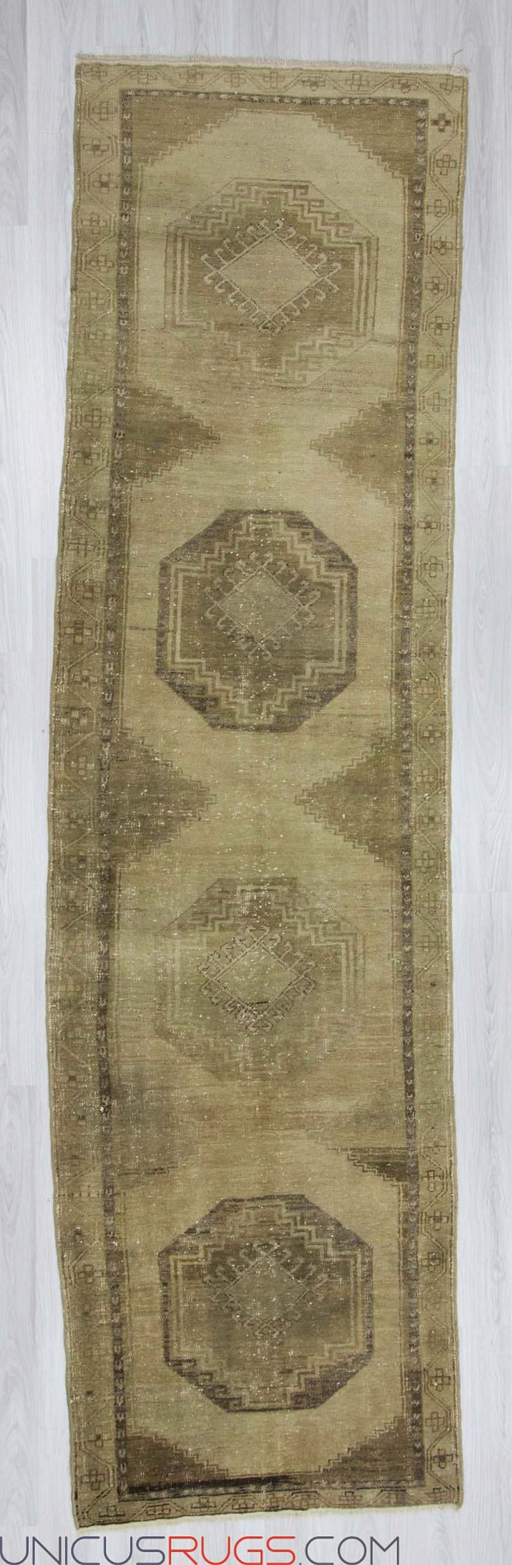 """Vintage washed out runner rug from Malatya region of Turkey. In good condition. Approximately 55-65 years old. Width: 3' 8"""" - Length: 13' 5"""" RUNNERS"""
