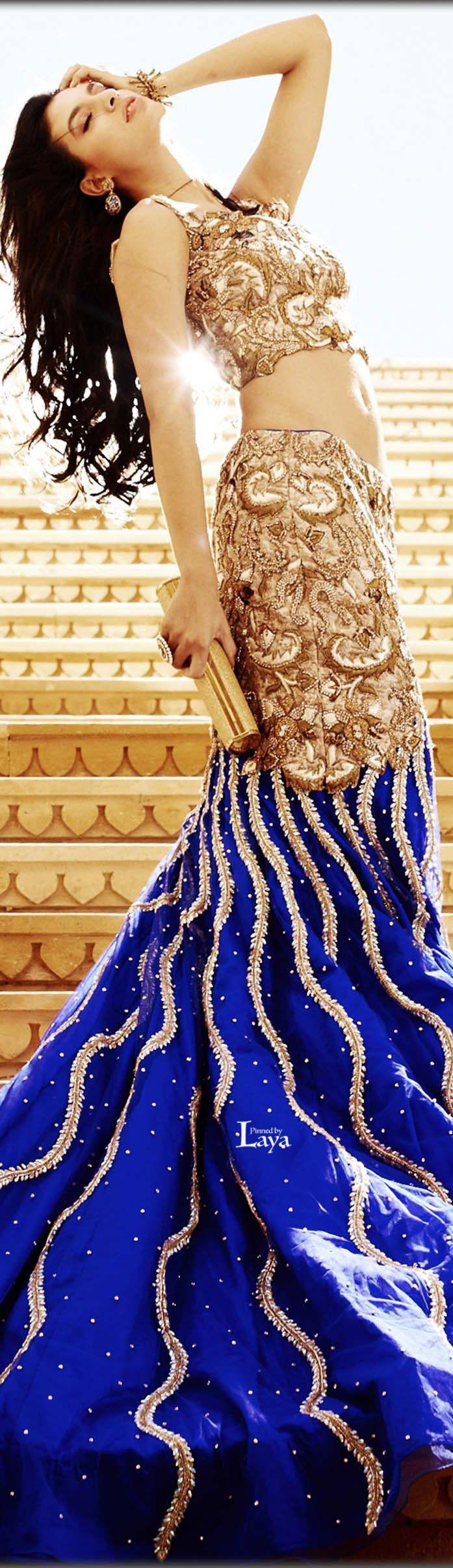Navy blue mermaid lehenga. Indian wedding reception outfit