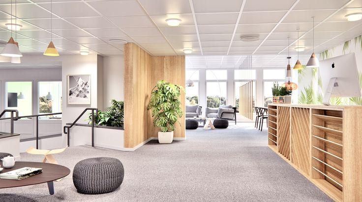Office / Reception desk,  Stockholm Interior design, Scandinavian design, 3D visualisation, render, archviz, 3Ds Max, modern design, styling, summer