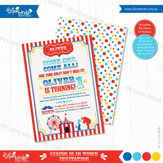 Circus is in Town Printable Invitation by 2LoveBirdsDesign on Etsy