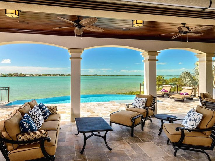 Key West house rental - A breathtaking vista from your private pavilion overlooking the Gulf & the pool.