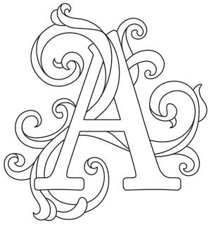 Make your mark with this unique, expressive letter design! Downloads as a PDF. Use pattern transfer paper to trace design for hand-stitching.