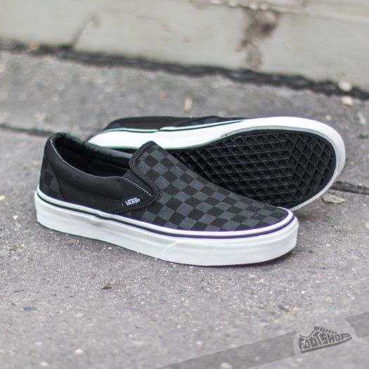 b00539028f3f Vans Classic Slip-On (Checkerboard) Black | My Style in 2019 | Black vans  shoes, Vans shoes, Black vans outfit