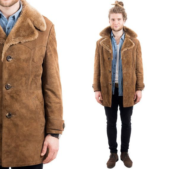 Mens Vintage 70s Shearling Coat Winter Suede Leather