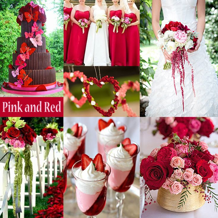 Pink And Red Wedding Colors #wedding, #weddings, #pinsland  shop pink & red bridesmaid dresses here:  http://www.outerinner.com/color-reds-pinks/bridesmaid-dresses-cg-12.html?pgp=p179_175