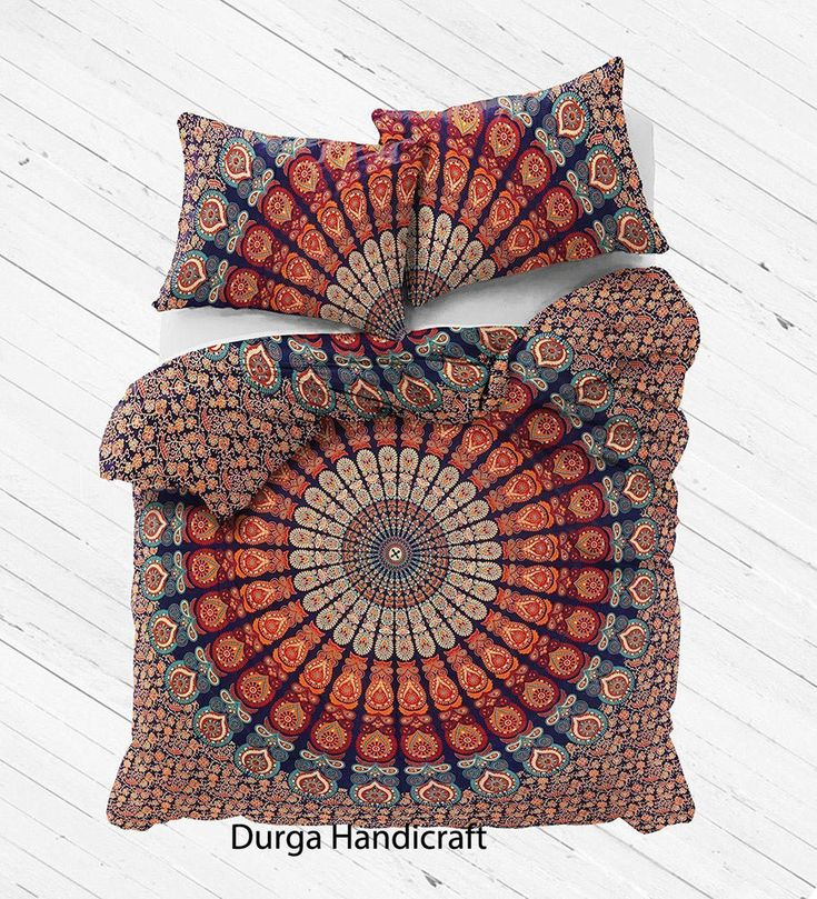 Peacock Indian Mandala Queen Size Duvet Cover Doona Cover Quilt Cover Reversible #Handmade #Traditional #DoonaCoverDuvetCoverQuiltCover