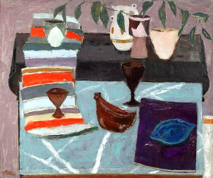 Still Life with Striped Cloth by William George Gillies
