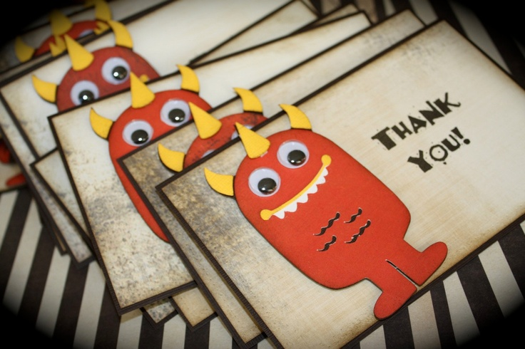 monster thank you cards | MONSTER BASH Party Thank You cards for any occasion by kutekardz