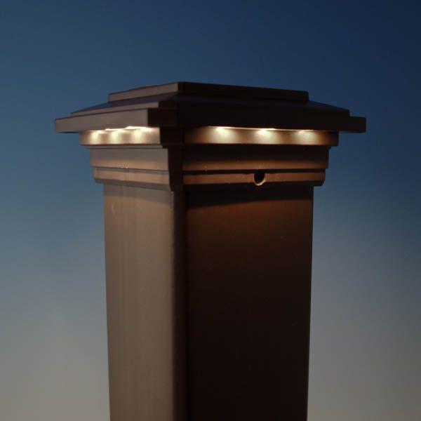 Solar Post Cap Light For Trex Transcend Post Sleeves By Ultra Bright Solar Post Caps Solar Post Lights Solar Deck Lights