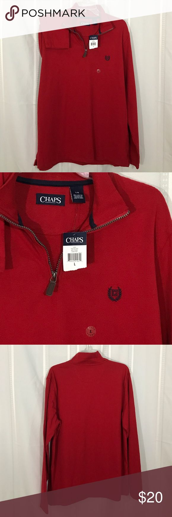"CHAPS Red Pique LS Quarter Zip Polo Shirt (L) NWT red polo shirt has quarter zip front and Chaps logo. 100% cotton. Length 29-1/2"". Sleeve 34-3/4. Chaps Shirts Polos"