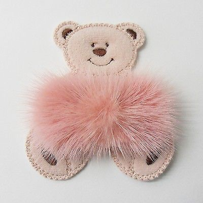 Bear-pink-mink-ribbon-fur-claw-brooch-pin-for-bag-coat-scarf-shawl-kilt-hat