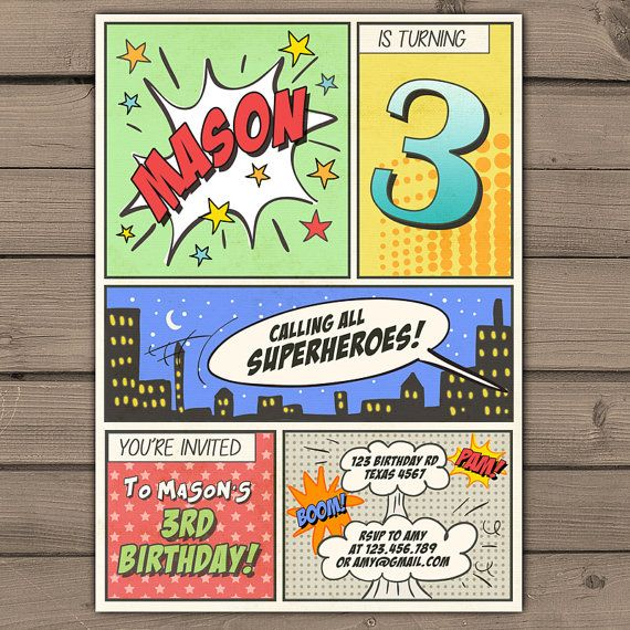 superhero birthday invitation superhero party invitation superhero invitation comic book invite vintage boy birthday printable any age superhero birthday - Superhero Birthday Party Invitations