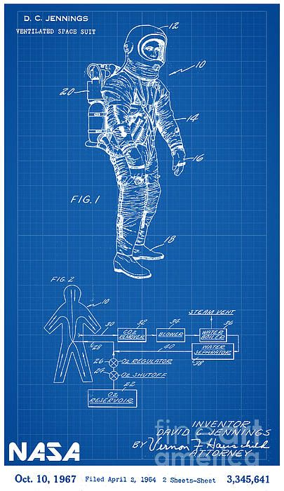 1967 nasa astronaut ventilated space suit patent art in