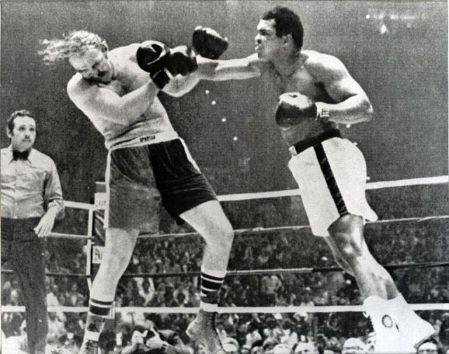 """In 1975, Ali fought a little-known boxer named Chuck Wepner (""""The Bayonne Bleeder""""). Ali was a heavy favorite, and he did win, but it took him the full 15 rounds to get the decision. Wepner's courage in going the full distance with the famous world champion inspired a young, unknown writer/actor named Sylvester Stallone to write the screenplay for his classic film Rocky. Rocky's opponent in the film, Apollo Creed, was based on Ali."""