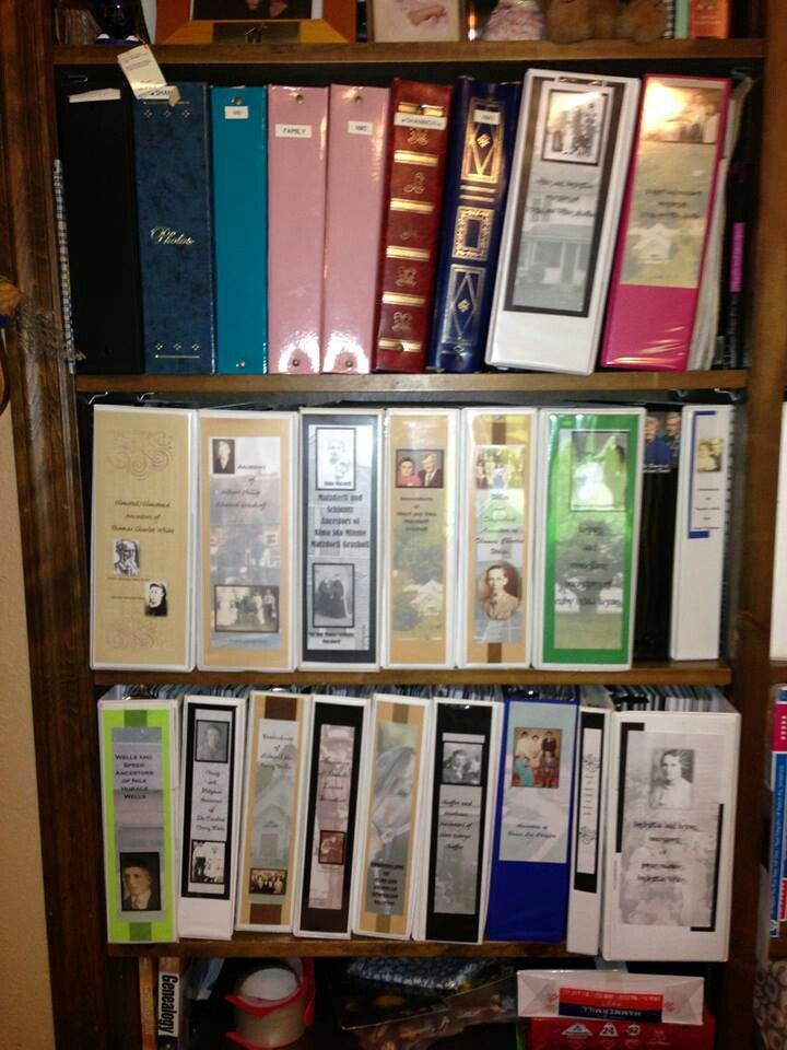 Great way to organize and personalize family history binders (credit: Terri Chaffin, 8/8/2013 post on The Organized Genealogist FB page)