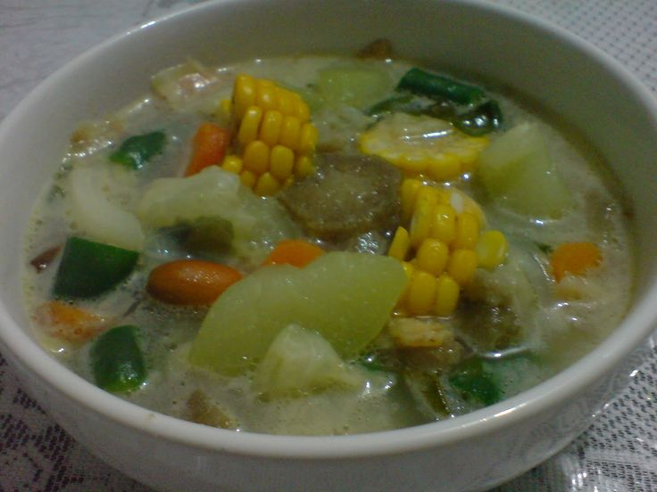 Indonesian food: Angeun Lodeh, west Java  mix vegetables cooked with coconut milk. would taste better if eaten with chilli and anchovies