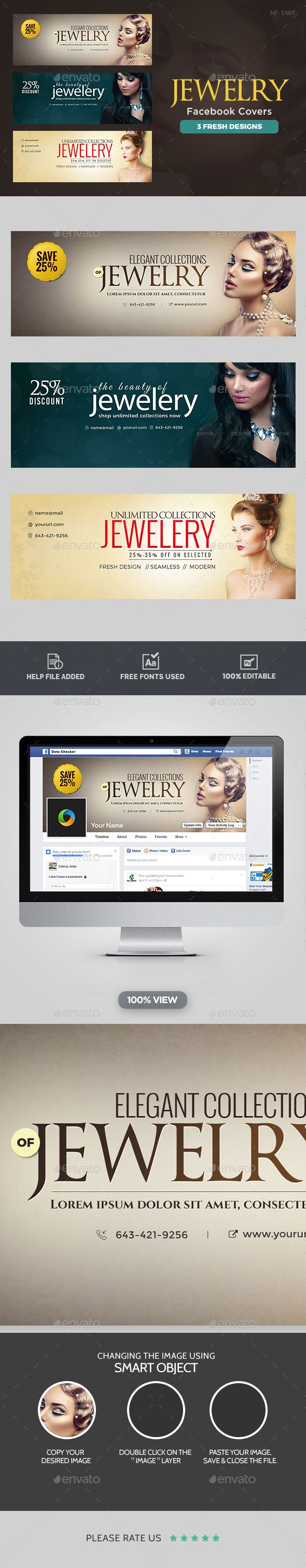Jewelry Facebook Covers - 3 Designs  — PSD Template #wedding #jewelry #business…