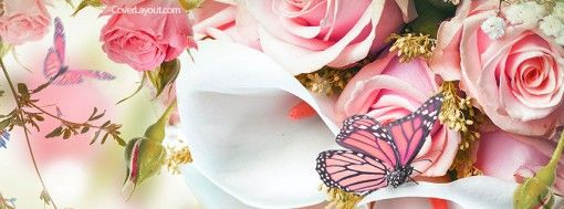 Pink Butterflies and Flowers Cover plus many other high quality Covers for your Facebook profile at CoverLayout.