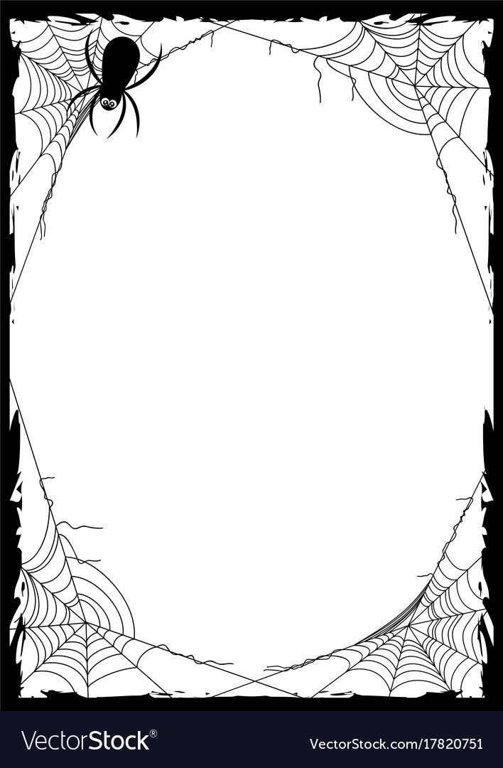 Happy Halloween Poster With Black Frame From Spider Web In Corners On White Background Trick Or Treat V Halloween Illustration Halloween Art Halloween Poster