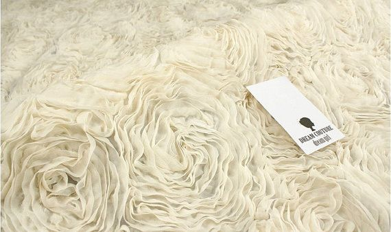 ivory Chiffon Rosette fabric rosette Lace by WeddingbySophie