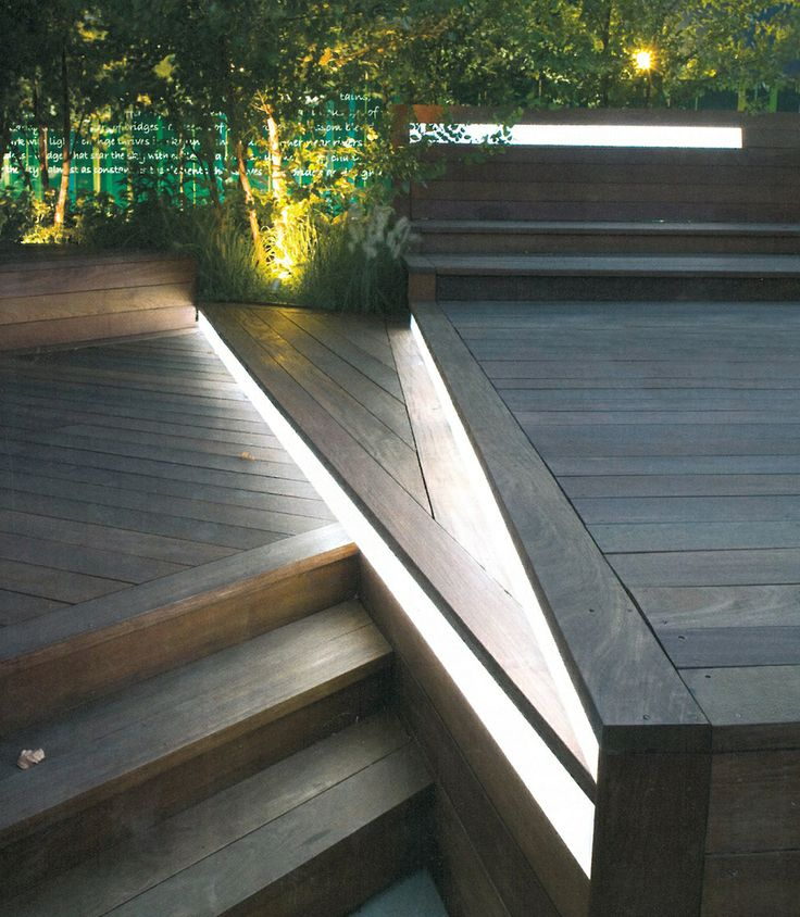 Wooden Deck with Lights