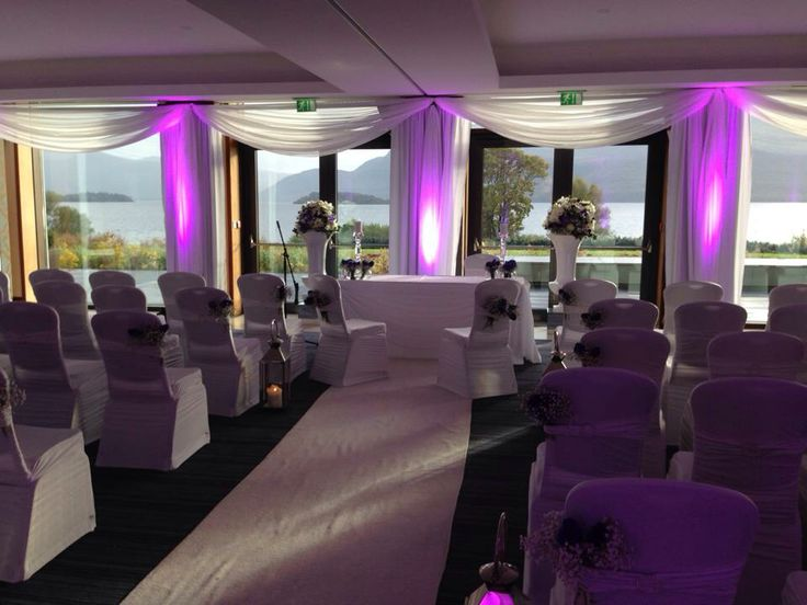 Stunning Purple wedding decor for a winter wedding ceremony overlooking the lakes of Killarney,at The Europe Hotel