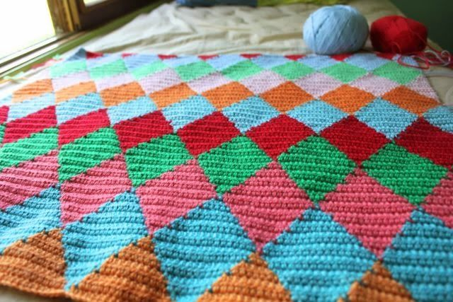 Free Crochet Harlequin Blanket Pattern : @ little woollie: Harlequin blanket - tutorial here for ...