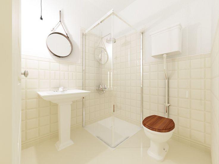 Elegantní malá retro koupelna - Etruria obklad a dlažba.