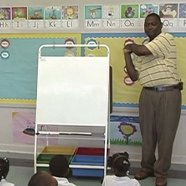 INSTRUCTION: This activity allows children to practice their letter-sound knowledge while also allowing students to see the relationship between letter-sounds knowledge and spelling. The teacher will use Jolly Phonics actions to mime the corresponding letter of the word​ for students. The students can then guess the words and the teacher can model writing the words on chart paper for the class.