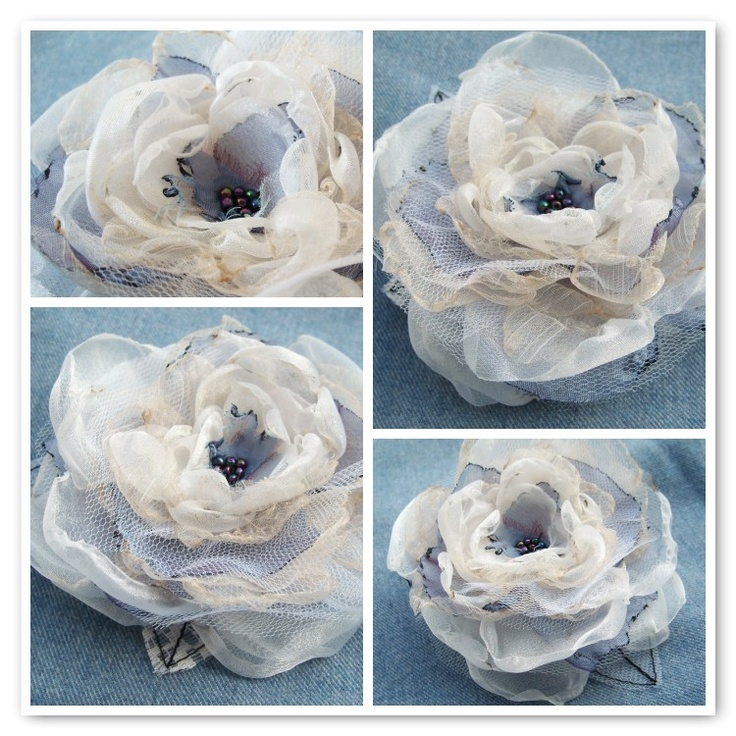 OnePerfectDay organza flower on BlueCollarBride blog.