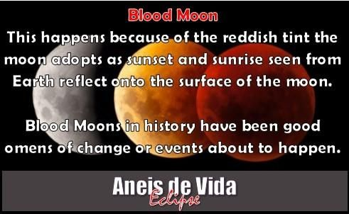 In the sky on the 8th October 2014 a total lunar eclipse takes place. It is the second of two total lunar eclipses in 2014, and the second in a tetrad (a set of 4 total lunar eclipses within 2 years.) learn more and see NASA's video about this eclipse here... http://aneisdevida.co.za/blog/more-about-the-lunar-eclipse-blood-moon-8-october/