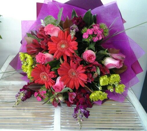 Beautiful Red, Pink and Lime in a mixed seasonal bouquet