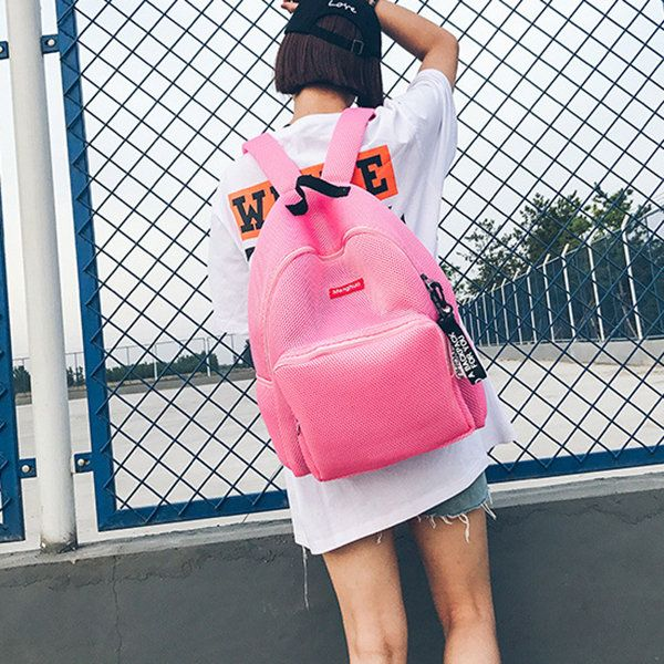 Students Net Book Bags Casual Unisex Backpack Fitness Gym Bag