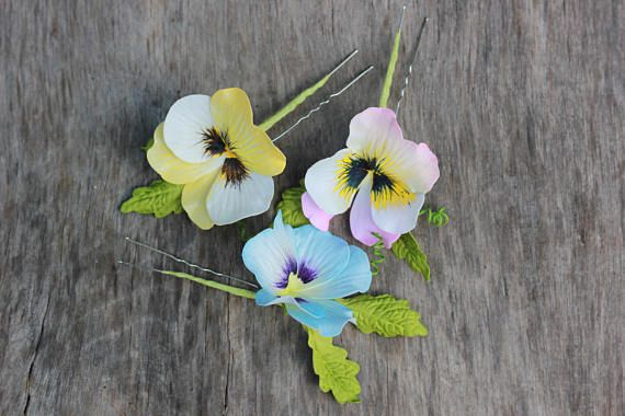 Flower hair pins Hair vine flower Pansy Flower headpiece Hair