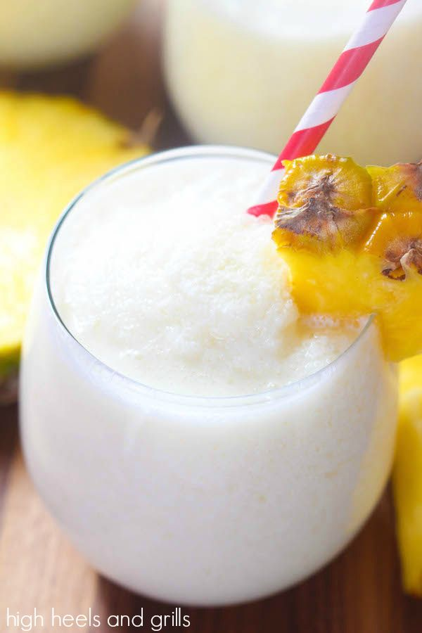 Virgin Pina Colada 1 cup pineapple juice 1 cup coconut milk {I use full fat} 1/4 cup granulated sugar 1/4 cup heavy whipping cream 1 tsp. vanilla extract 8 cups cubed ice | High Heels and Grills