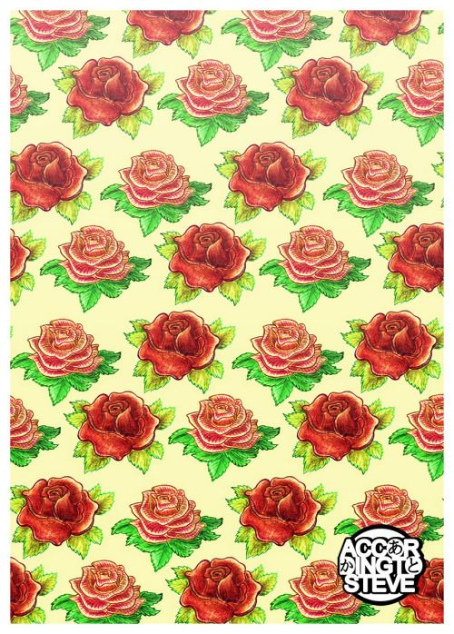 practiced drawing roses and made the result into a pattern